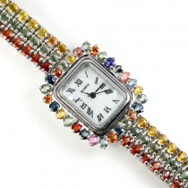 925 sterling silver 14k white gold womens wrist watch with natural fancy colored sapphire