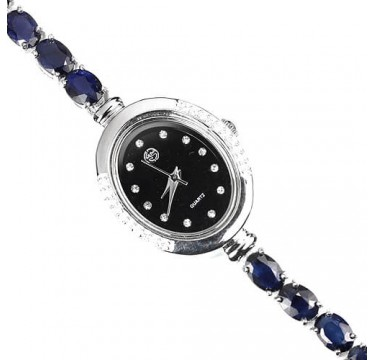 Stylish Jewellery Silver Ladies' Wrist Watch with Genuine Blue Sapphire & CZ