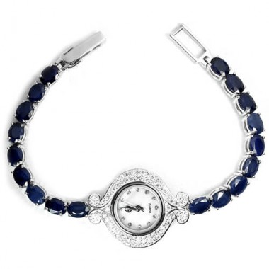 Bracelet Sterling Silver Wristwatch for Women with Natural Blue Sapphire