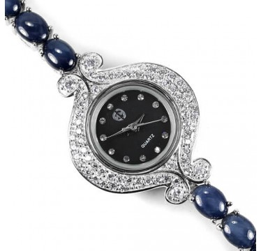 Star Sapphire 6 Rays Sterling Silver Bracelet Watch on Wrist for Ladies