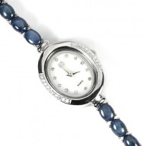 Spectacular Silver Wrist Watch with Natural 6 Rays Star Blue Sapphire