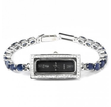 Classic Design Ladies Sterling Silver Wrist Watch with Sapphire
