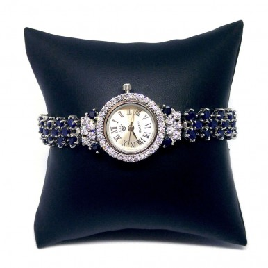Charming Sterling Silver Watch for Ladies with Natural Blue Sapphire