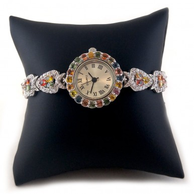 Winsome Ladies' Silver Wrist Watch with Genuine Multi Color Sapphire