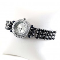 Genuine Dark Blue Sapphire Sterling Silver Wristwatches for Women