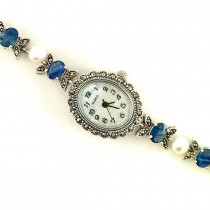 Vintage Design Silver Ladies' Watch with Blue Sapphire, Pearl & Marcasite