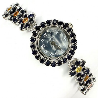 wonderful flower sterling silver watch with blue & orange natural sapphire