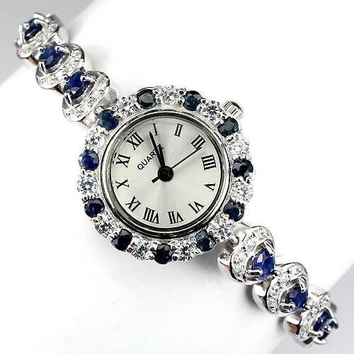 Authentic Sapphire Cz Gems Sterling Silver Jewelry Ladies Watch With Nice Heart Links