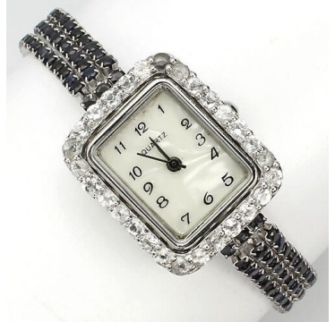 natural gems deep blue sapphire & white topaz 925 sterling silver womens wrist watch
