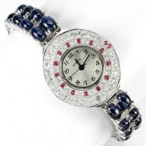rare 6 rays star sapphire diffusion, ruby & white topaz silver womens watch