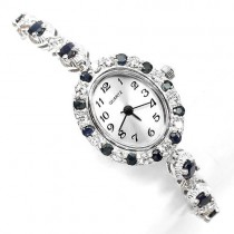 genuine blue sapphire gems & CZ 925 sterling silver 14k white gold ladies wrist watch