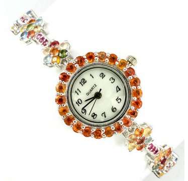 precious authentic fancy colors sapphire & ruby  925 sterling silver wrist watch for women