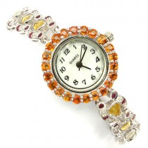 gracious rare natural orange & yellow sapphire and ruby sterling silver jewelry womens watch