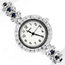 deluxe natural gems blue sapphire & CZ 925 sterling silver womens wrist watch