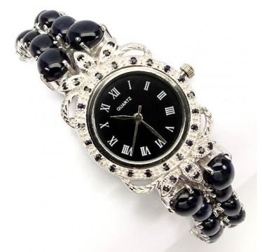 very rare natural gems 6 rays star sapphire 925 sterling silver womens wrist watch