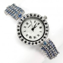 awesome jewelry! real blue sapphire sterling silver ladies wrist watch