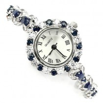 natural jewels rich blue sapphire & CZ 14k white gold 925 sterling silver womens watch