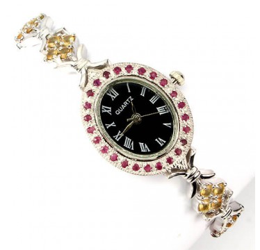 luxury genuine yellow sapphire & ruby 925 sterling silver 14k white gold ladies wrist watch