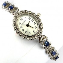 genuine jewels blue sapphire & marcasite 925 sterling silver ladies vintage wrist watch