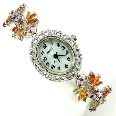 natural fancy colors sapphire, ruby & white topaz luxury sterling silver ladies watch