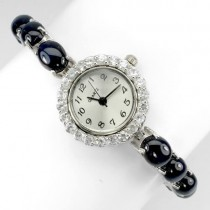 very rare natural big 6 rays star blue sapphire & white topaz sterling silver watch for lady