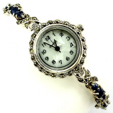 natural gemstones blue sapphire & marcasite 925 silver vintage style ladies' watch