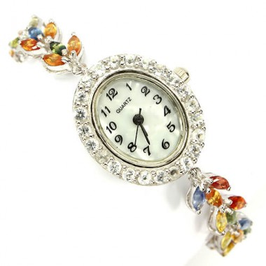 Authentic fancy colors sapphire & white topaz 925 sterling silver womens wrist watch