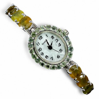 very rare authentic yellow sapphire & green sapphire gems 925 silver watch for woman