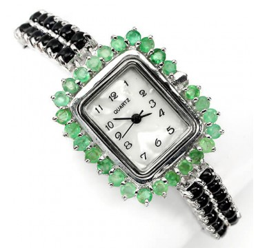 Special jewellery ladies watch sterling silver with cabochon sapphire & emerald