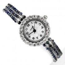genuine blue sapphire & white topaz sterling silver exclusive design wrist watch for women
