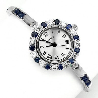 Elegant Sterling Silver Women's Wrist Watch with Genuine Sapphire & CZ