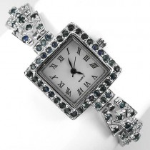 unique design luxury 925 sterling silver 14k gold ladies watch with natural blue sapphire
