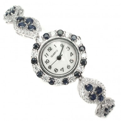 Blue Sapphire & CZ Stones 925 Sterling Silver Ladies' Wristwatch