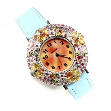 Multi Color Sapphire & Ruby Sterling Silver Watch On Leather Strap