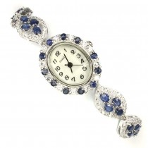 Natural Blue Sapphire & Cubic Zirconia 925 Silver Women's Wristwatch