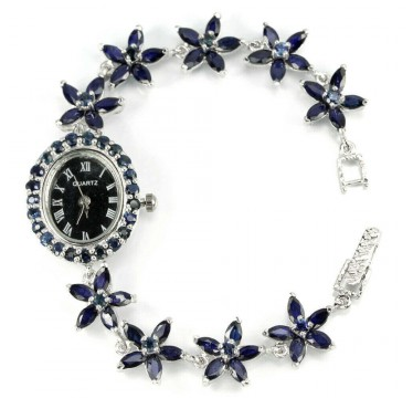 Flower Design Natural Blue Sapphire Gems Sterling Silver Wrist Watch