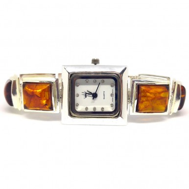 Honey Amber Natural 925 Sterling Silver Wrist Watch for Women