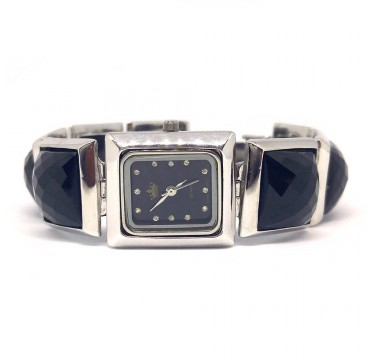 Natural Black Onyx Stones Sterling Silver Ladies' Wrist Watch