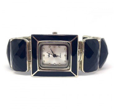 Black Natural Onyx Stones Women's Sterling Silver Wrist Watch