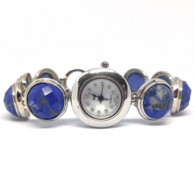 Blue Lapis Lazuli Jewelry Sterling Silver Wrist Watch for Women