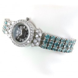 Adjustable Bracelet Sterling Silver Women's Wristwatch with Apatite