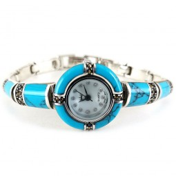 Turquoise & Marcasite Natural 925 Silver Wristwatch for Women