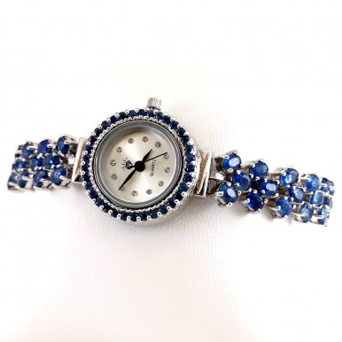 Natural Rich Blue Kyanite Stones Sterling Silver Ladies' Wrist Watch