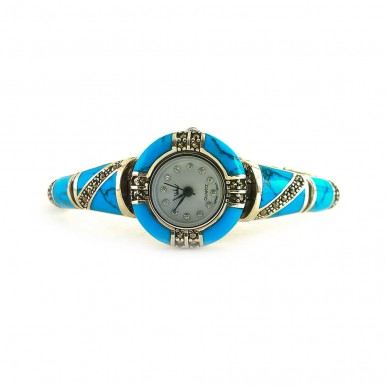 Rich Blue Turquoise & Marcasite Women's Sterling Silver Wristwatch