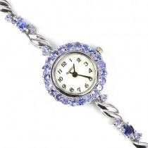 Genuine blue tanzanite stones sterling silver womens wrist watch