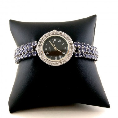 Sterling Silver Ladies' Watch with Violet Tanzanite & White Topaz