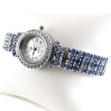925 Sterling Silver Adjustable Length Wristwatch for Ladies with Tanzanite