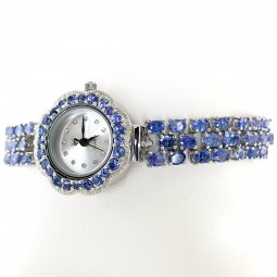 Violet Blue Natural Tanzanite Sterling Silver Women's Wrist Watch
