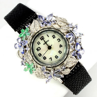 luxury sterling silver & natural leather jewelry womens watch with tanzanite & emerald