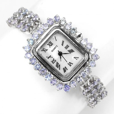 gorgeous jewelry! genuine blue violet tanzanite 925 sterling silver watch for women
